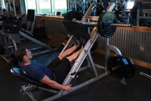 Подъем носков в тренажере для жима ногами, позиция 0