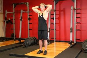Плиометрическое упражнение на укрепление мышц шеи, позиция 1