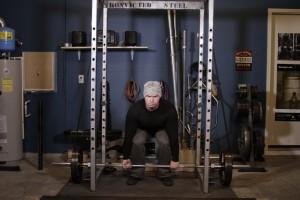 Становая тяга в силовой раме с эспандерами, позиция 0