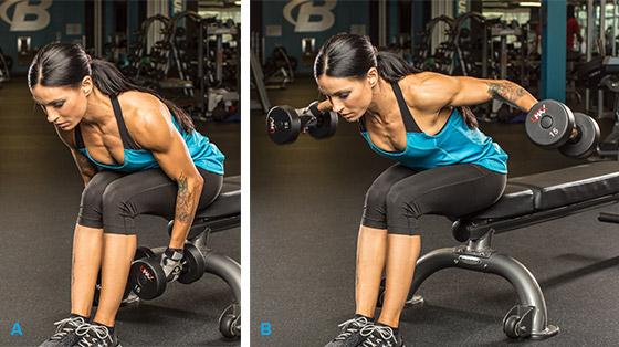 7 эффективных упражнений на задние дельты. Разведение гантелей сидя в наклоне